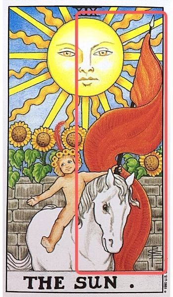 19太陽 タロットカード 子供 赤い旗
