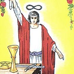 1魔術師 ザ・マジシャン 白の服 赤いローブ タロット