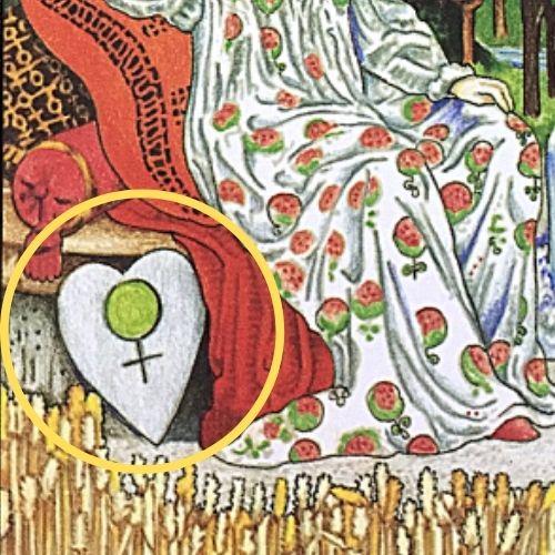 タロットカード 女帝 エンプレス 金星♀マークのあるハート型の盾